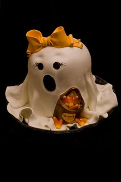"""- This version of a """"Girly Ghost"""". She's made of two rounds and one half of a ball pan. The cake is a pumpkin spice with cream cheese icing and a vanilla fondant drape. All decorations are fondant as well. Halloween Snacks, Halloween Torte, Bolo Halloween, Halloween Birthday Cakes, Halloween Baking, Happy Halloween, Ghost Cake, Fall Cakes, Halloween Celebration"""