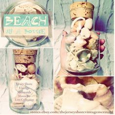 """Jersey Shore Vintage Mermaid Mason Jar Lots Collection """"Beach in a Bottle - Fossils, Seashells, Corals all collected from vintage sales across the jersey coast."""