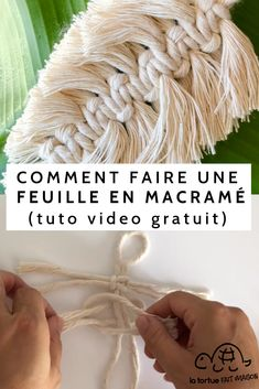 Free tutorial Macrame leaf - Video and explanations to easily make a macrame sheet with your leftover strings! Boho Diy, Bohemian, Micro Macrame, Macrame Art, Cool Ideas, Crochet Crafts, Diy Crafts To Sell, Diy Room Decor, Creations