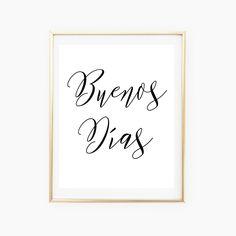 Buenos Dias Spanish Print Quote Good Morning Printable Wall Art Home Decor Quotes