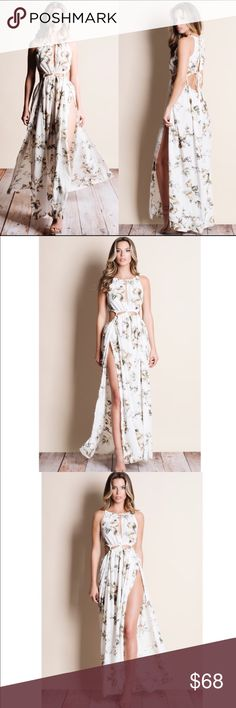 ONE ALL DAY SALE !!!!!!!!! 20%!!!! Extended Beautiful cut out floral print maxi dress. 65% cotton, 35% polyester. Dresses Maxi