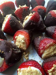 Cheescake-Filled, Chocolate-Covered Strawberries