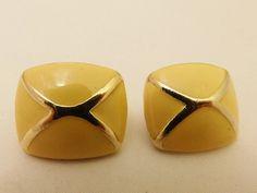 Gold Tone Yellow Enamel Vintage Earrings by TheEarringPlace