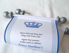 Royal prince birthday party invitation scroll, prince baby shower invitation, royal crown scroll invitation, blue and silver, set of 10 - http://www.baby-showerinvitations.com/royal-prince-birthday-party-invitation-scroll-prince-baby-shower-invitation-royal-crown-scroll-invitation-blue-and-silver-set-of-10.html