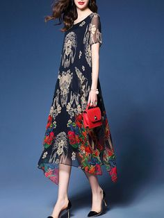 e1b8f94b37c3 Asymmetric Hem Hollow Out Printed Chiffon Maxi Dress
