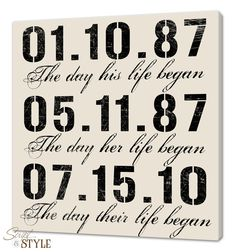 framed & matted custom date art print personalized anniversary Wedding Date On Canvas personalized special dates canvas wall art, important dates typography sign, wedding sign, 20x20 wedding date on canvas