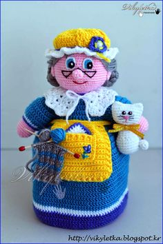 вязаная бабушка,вязаная кукла бабушка,вязаная перчаточная кукла,вязаная перчаточная кукла бабушка,кукла бабушка для домашнего театра,кукла бабушка для сказки Красная Шапочка