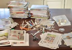 Are you a magazine hoarder too? Get rid of those piles and free up your spaces! Tear out the dog-eared favorite pages and create design inspiration books - such a good idea!