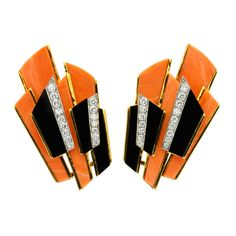 Kutchinsky Coral Black Onyx Diamond Earrings | From a unique collection of vintage clip-on earrings at https://www.1stdibs.com/jewelry/earrings/clip-on-earrings/