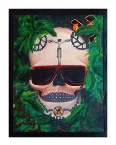 "Angeliz Herholz (@angelizherholz) no Instagram: ""Skull biker.. to my Bro.. @mrlavor mix techniques,  30 x 42cm"" aquarela e acrílico"