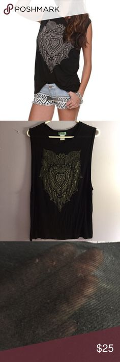 Henna heart muscle tee fits small and medium Size small fits a small or medium because of oversized fit and no sleeves. Semi drapey armholes. I was 15 pounds lighter in the top in photo #4 and it still fits me today 👍 VERY small holes on BACK. Hard to notice (photo3). Light and airy but NOT see through! Looks great with a bandeau or bralett. In photo 4 I just wore it with a result pink bra haha. YES I bundle🚫NO TRADES EVER🚫 no low balls. Don't ask to trade I will say no even if I love…