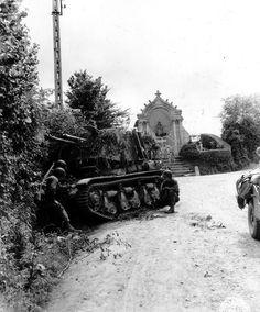 Knocked-out German 4.7 cm PaK(t) auf Panzerkampfwagen 35R(f) self-propelled gun Le Molay-Littry France 20 June 1944.