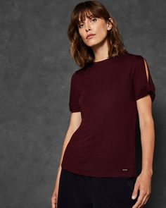 ad984e40eae7 Twist sleeve T-shirt - Dark Red   Tops And Tees   Ted Baker Beautiful