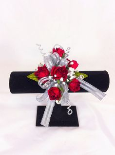 Red Rose wrist corsage with silver ribbon and metallic spirals Wrist Corsage Wedding, Prom Corsage, Red Wedding, Wedding Things, Red Corsages, Wristlet Corsage, Classic Dresses, Corsage And Boutonniere, Prom Flowers