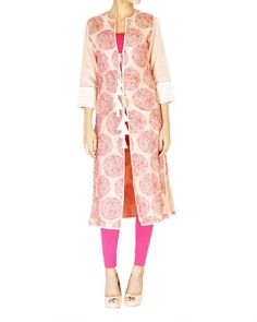 Pink embroidered jacket with ombre kurta set  |  Shop now: www.thesecretlabel.com