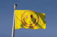 Jeremy Deller and Fraser Muggeridge create Utopia identity with rave smileys and a new alphabet Anti Flag, Jeremy Deller, Raised House, Protest Art, Inspirational Text, Creative Review, Environmental Design, Flag Design, Worlds Of Fun