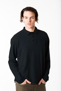 Women and Men's Eco Fashion organic cotton, hemp, bamboo wool eco-friendly and sustainable natural clothing all made in Vancouver BC Canada. Fashion Men, Winter Fashion, Long Sleeve Polo, Organic Cotton, Cotton Fabric, Polo Shirt, Mens Tops, Clothes, Style