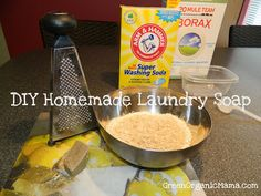 Super easy, all-natural, homemade laundry soap. Powder detergent for less than pennies a load.