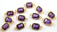 Natural Amethyst Bezel Gemstone Component Tiny by Beadspoint, $4.99