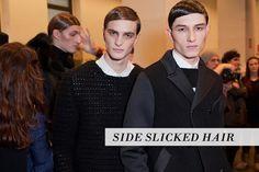 side slicked hair  http://www.thevandallist.com/mens-side-slicked-hair/