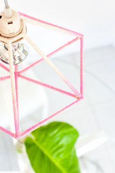 DIY Luminária pendente gaiola ombré