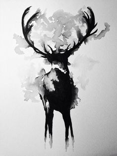deer watercolor painting black & white - Google Search