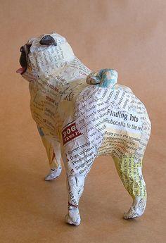 Pug Unique Whimsical Paper Mache Dog Sculpture by PaperPort