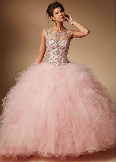 Brilliant Tulle & Satin Bateau Neckline Ball Gown Quinceanera Dresses