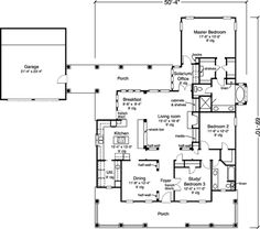 Country Style House Plan - 2 Beds 2 Baths 2077 Sq/Ft Plan #410-120 Floor Plan - Main Floor Plan - Houseplans.com