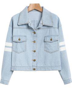 Blue Lapel Long Sleeve Letters Print Jacket