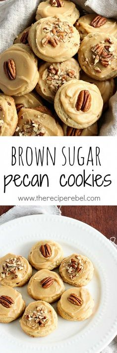 Brown Sugar Pecan Cookies: Soft, buttery pecan cookies topped with brown sugar frosting and more pecans -- one perfect cookie! Great for Christmas baking or any day of the year! www.thereciperebel.com by kathie