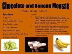 Banana Mousse, Slimming World Desserts, Puddings, Beef, Chocolate, Healthy, Recipes, Food, Meat