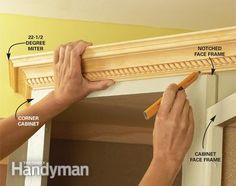 Cabinet Facelift - Step by Step: The Family Handyman (add crown molding, raise a cabinet, build a wine rack, add a basket unit, etc.)