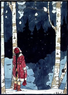 Red coat among the birches