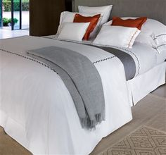Zigzag Luxury Bed Linens by Yves Delorme. New for Spring 2014, Zigzag is a classic, printed percale, 200 thread count bedding collection with zigzag stitch in 10 colors. Elegant and wonderful all year round.