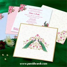 This invitation card is made out of Ivory Cream textured paperboard with matching mailing envelope. Card front has a lovely pair of peacock floral design outlined with golden foil printing. Card inside has 3 different color inserts with floral and peacock theme gives an amazing look.