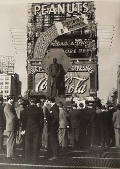 "specialcar: ""Times Square 1940s Men by Coca Cola and Planters Peanuts Sign Vintage New York City """