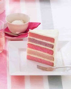 Pastel Layer Cake. Such pretty colours! I'll maybe try this for my birthday cake as the trial run for the boys' rainbow cake.
