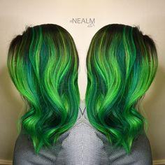 Neon green emerald green hair rainbow hair mermaid hair