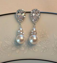 Crystal Bridal Earrings Bridal Earrings Pearl by PoetryBridal