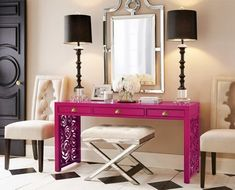 Pink console table entryway ( without stools because no one I know would sit there lol )