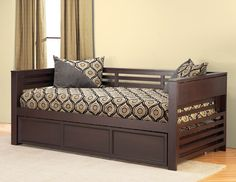 Terrific Black Painted Wooden Daybed With Trundle With White ...