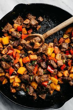 Steak bites are packed with tons of flavor and huge pops of healthy vitamins and minerals thanks to colorful sweet potatoes, bell peppers, green onions, and fresh cilantro. This weeknight dinner recipe takes one pan and is ready in under 45 minutes. Whole30 Dinner Recipes, Paleo Recipes, Yummy Recipes, Whole Food Recipes, Cooking Recipes, Clean Eating Recipes For Dinner, Clean Food Recipes, Healthy Meals For Dinner, Healthy Steak Recipes