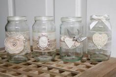 12 SHABBY CHIC/ VINTAGE WEDDING DECORATED GLASS JAM JAR TEA LIGHT HOLDER FAVOUR | eBay
