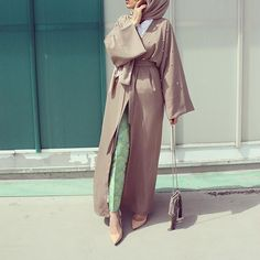 Pinterest: @eighthhorcruxx. Neutral coloured abaya with pearls