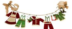 Paper Elf Clothesline | Steven and Chris | A fun DIY for the whole family, this simple paper clothesline is a cheap and chic way to add some whimsy to your holiday decor. Materials paper scissors hot glue wire Scotch® Magic™ Tape twine Method Cut simple clothing shapes...