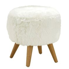 Nettey Cabaret Footstool Norden Home Colour: White Shabby Chic Cushions, Boho Cushions, Cushions On Sofa, Modern Bedroom Furniture, Small Furniture, Furniture Ideas, Emu, White Fur Rug, Bedroom Stools