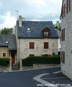 Stone houses in Aumont-Aubrac on the GR 65 Chemin de Saint-Jacques, France