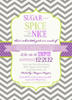 Girls baby shower invitation sugar & spice purple by paperclever