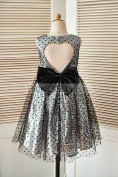 ff17ec4468 Silver Sequin Black Polka Dot Tulle Wedding Flower Girl Dress with Keyhole  Back